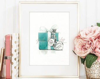 Tiffany & Co. T collection - water color art prints, gift for mother, tiffany box jewellery wall art, fashion art DIGITAL DOWNLOAD