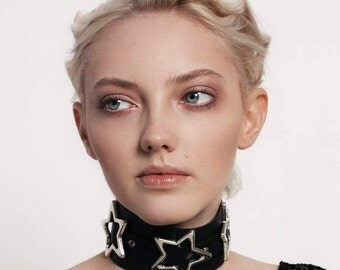 Leather choker, Leather collar, Chocker XL, Black Leather Choker, Chrome Stars, 90's look,