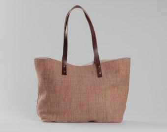 Orange Tote bag, beach tote bag, orange canvas bag, lagut, summer tote bag, leather handles bag, big bag, woman beach bag, summer orange bag