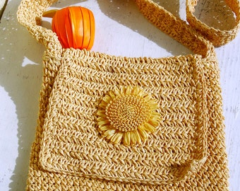 Wicker woven crossbody bag Crochet Cross Body Bag Women Hippie bag Small shoulder bag womens crochet purse Handmade Vintage