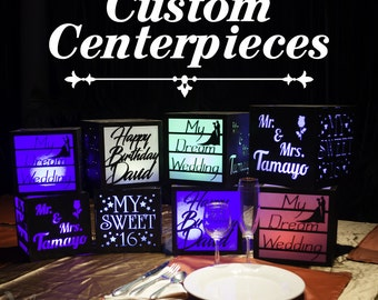 8 Custom centerpieces with LED remote color changing lights. Wedding, Birthday, Baptism, Graduation, Quinceanera, Bar Mitzvah, any party