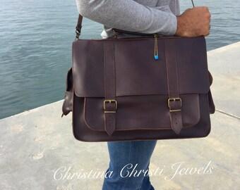 Laptop Bag, Dark Brown Leather Briefcase, Men's Leather Briefcase, 17 inch Laptop Bag, Leather Messenger Bag, Made in Greece.