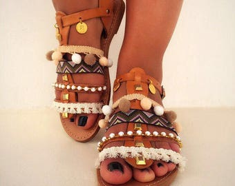 Greek Leather Sandals, Boho Sandals, Gladiator Sandals, Ethnic Sandals, Made in Greece by Christina Christi Jewels.