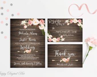 Rusic Wedding Invitations Printable Wedding Invitation Suite Floral Wedding Invite Boho Wedding Invite Country Wedding Country Invitation