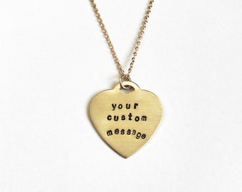Custom Stamped Heart // Hand-Stamped Brass Necklace
