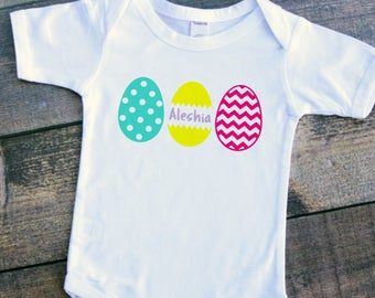 Easter egg personalized polka dot chevron grass baby girl boy bodysuit toddler tshirt