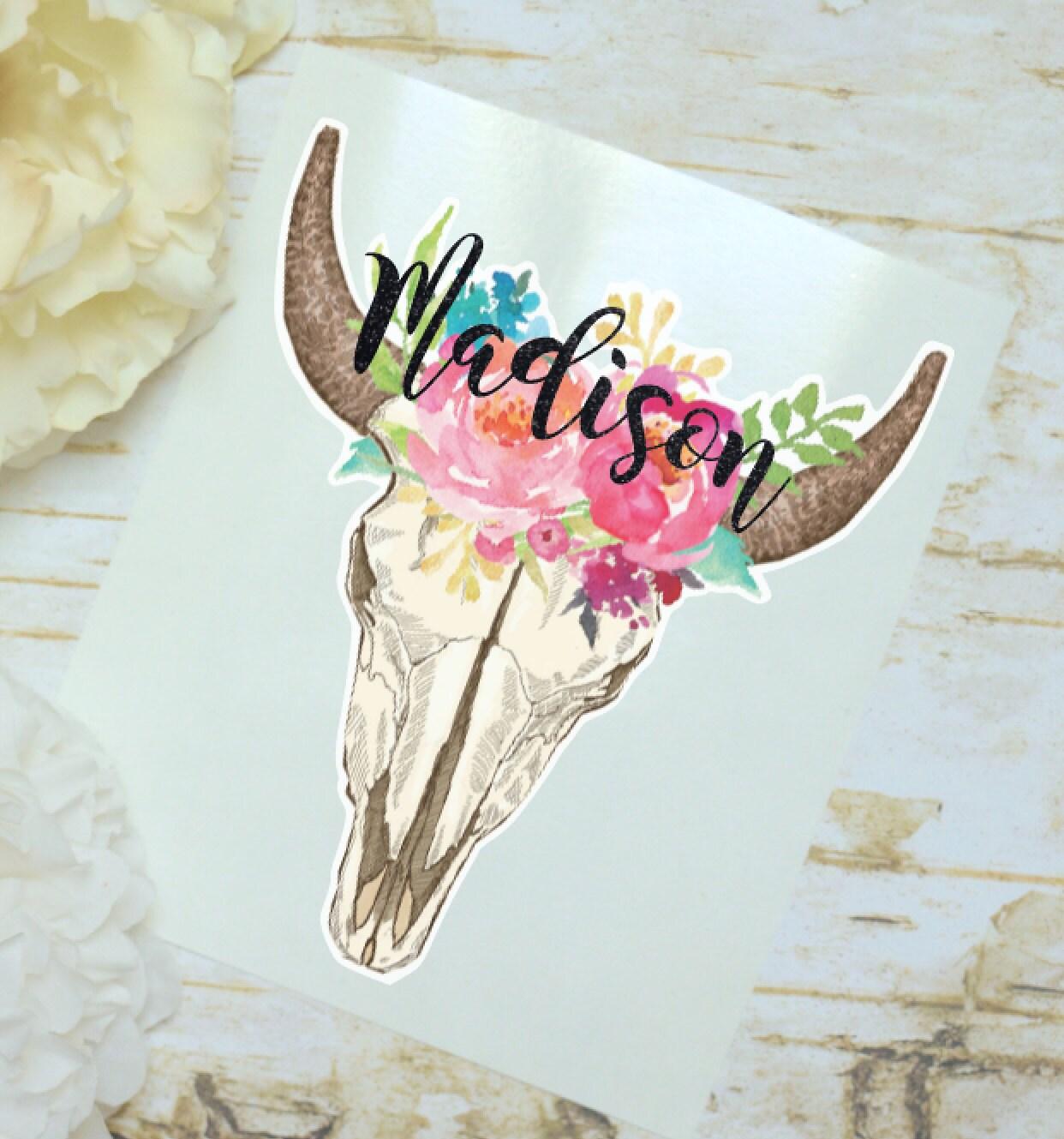 steer skull floral monogram decal watercolor flowers cow