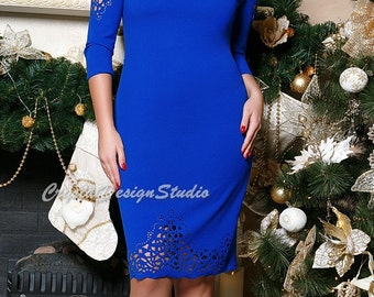 Holiday Dress Cobalt Blue Prom Dress Cocktail Dress long sleeve Party dress lace Evening dress Midi dress plus size Black Gown Formal