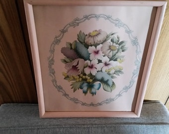 antique botonical art litho print 1940's in salmon pink - wooden frame oval picture photo - ornate flowers ribbon victorian lily of valley
