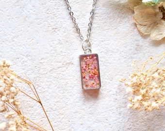 Real Dried Flowers in Resin Necklace in Pinks and Oranges
