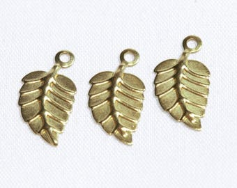 Raw Brass Leaf Charms, Golden Brass Leaf Charms, Mini Leaf Pendant Charms,Findings