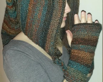 pixie hood and gloves crocheted in tones of brown and blue.
