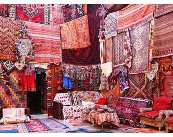 Istanbul, Turkey, the Grand Bazaar, carpet shop, red, exotic places, home decor, large wall art, fine art photography, Turkish home decor