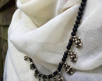 Pretty Black Stone Bib Necklace // Statement Necklace // Handmade // Modern Look
