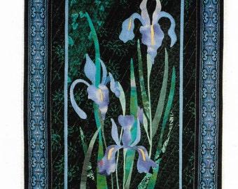 Wildflowers Iris Wallhanging Quilt Pattern  90s Sweet Memories Makes 20 x 30 in