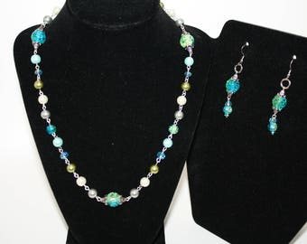 Mermaid Jewelry Set Necklace Earrings Blue Green Crackle Pearls Crystals  Beach Wedding Cruise