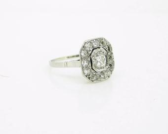Geometric ART DECO Diamonds ring, 18kt gold and platinum, c.1930
