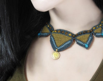 Mayan macramé necklace, necklace medal and tiger eye, mayan jewelry, turquoise necklace, jewelry necklace spring summer.