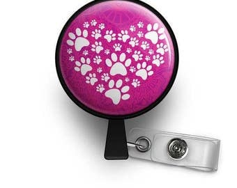 A Heart Full of Paws Retractable ID Badge Reel