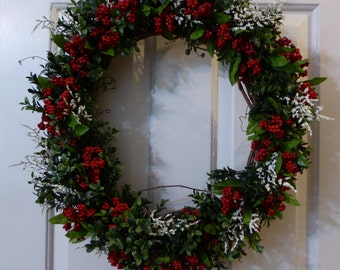 Christmas Wreath, Winter wreath, Red berry wreath