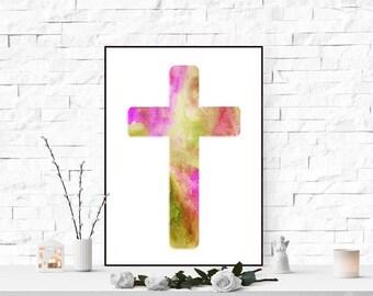 Christian cross printable art print Religious wall art Watercolor cross print Christian home decor Catholic art print cross purple green
