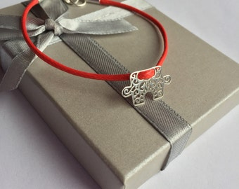 Red Strand and Sterling Silver Bracelet