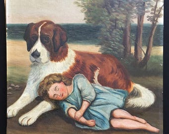 Antique American oil on canvas, Saint Bernard with girl, naive, primitive, dog painting, vintage art, 1920s