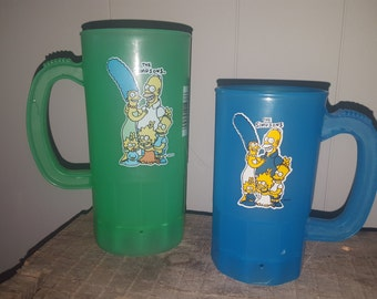 2 Vintage The Simpsons Plastic Mugs