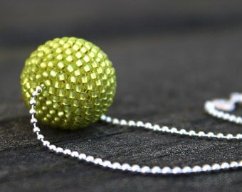 Beaded Necklace 925 Silver Chain, Chartreuse Bead Necklace, Necklace Pendant, Minimalist Necklace, Minimalist Jewelry, Pearl Necklace