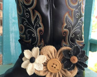 Black/Beige/Cream Burlap Button Flowers with Black Feathers Boot Bracelet / Bootlet - Cowgirl Boot - Country Wedding - Country Chic