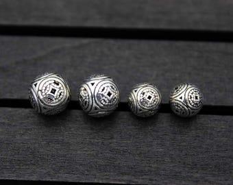 8mm 10mm 12mm 14mm 16mm Sterling Silver Beads,Sterling Silver spacer beads,Silver Hollow beads