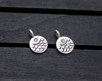 2 Sterling Silver Fish charm, Sterling silver fish pendant, Silver fish tags,Silver round tags
