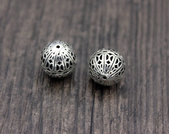 1PC-12mm Sterling Silver Beads,Sterling Silver spacer beads,Silver Hollow beads