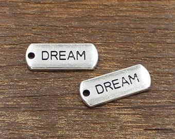 20pcs Dream Charms Antique Silver Tone 8x21mm - SH350