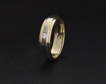 Two tone gold diamond wedding ring, Diamond wedding band, Custom wedding band, Classical wedding ring, Wedding band for men or women