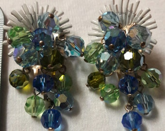Blue and Green Crystal Waterfall Bead Vintage Clip On Gold Plated Earrings