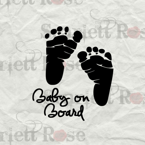 Baby On Board Footprints Maternity Svg Cutting By