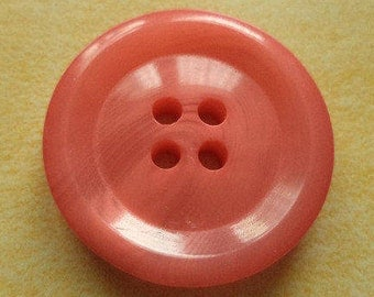 10 large buttons 25mm salmon pink (680)
