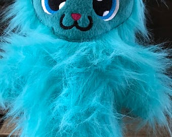 blue plush monster with Kawaii eyes, cute monster plush toy, monster stuffed animal, monster plushie, monster doll, monster stuffed toy