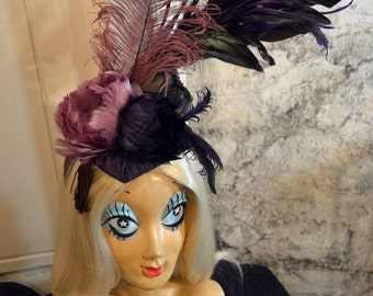 Regal Purple Ostrich Feather Purple and Brown Widow's Peak Fascinator Headdress Headpiece