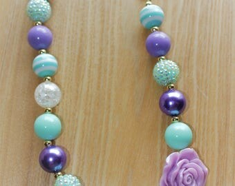 Lilac Flower Pendant with Seafoam Green and Crystal Accents Chunky Bead Necklace