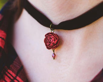 Flower choker necklace Peony choker red peony necklace peony pendant Miniature flowers Gift for her For girl for woman Floral style