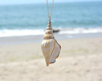 Large gold conch necklace Summer Sea Life Ocean Necklace ocean necklace