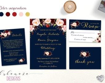 Navy Marsala Wedding Invitation Summer Set Burgundy Floral Autumn Wedding Invite Boho Spring Digital Wedding Invitation Suite - WS037