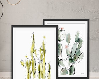 Cactus Gift - Cactus Prints Set of 2 Framed Art Prints by Green Lili. Digital Art. Wall Art. Gift. Interiors.