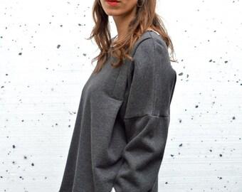 Organic Cotton Sweatshirt with Raw Edges, Handmade, Oversized, Minimal