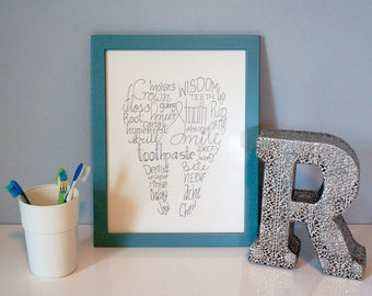 Dental Word Art   Tooth Shape artwork   Bathroom Art   Dental ArtBathroom art   Etsy. Bathroom Artwork. Home Design Ideas