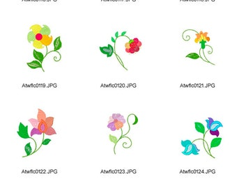Jacobean-Patchwork-Flowers ( 10 Machine Embroidery Designs from ATW ) XYZ17B