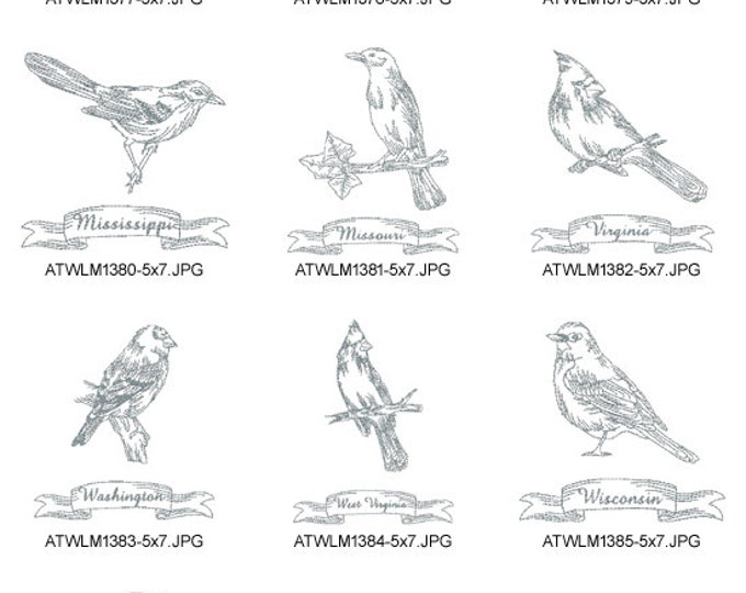 Redwork-State-Birds-3-5x7. ( 10 Machine Embroidery Designs from ATW )