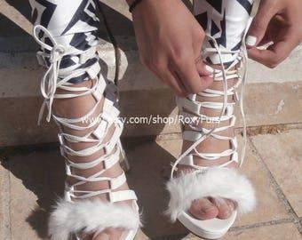 Fur trimmed strappy white high heel Gladiator stiletto sandals